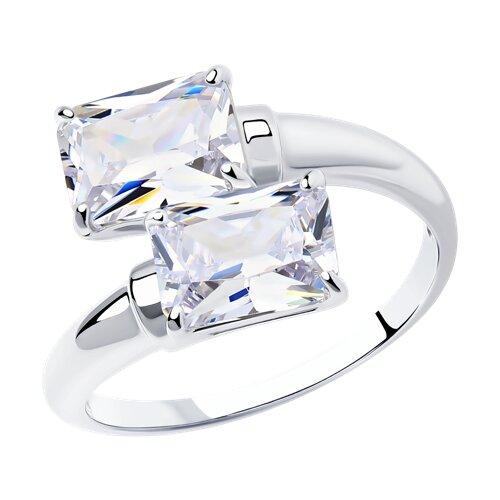 Кольцо из серебра с фианитами (94012075) - фото