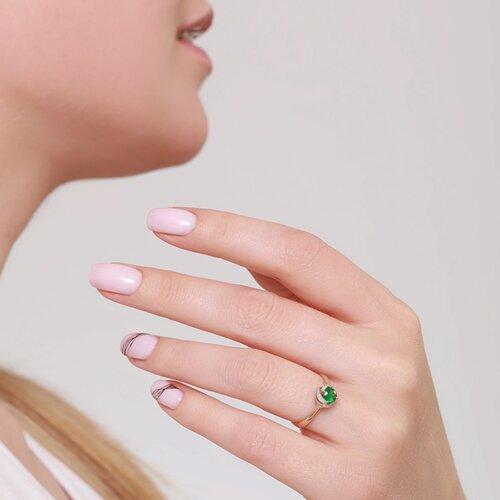 Кольцо из золота с бриллиантами и изумрудом (3010548) - фото №3