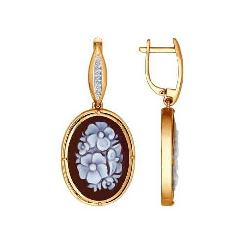 Серьги из золота с камеями и бриллиантами