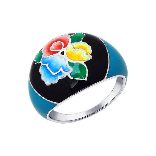 Серебряное кольцо в духе Жостовской росписи