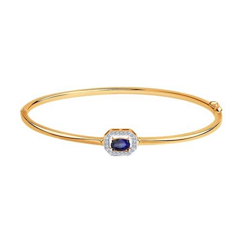 Браслет из золота с бриллиантами и корундом (6052004) - фото