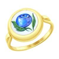 Кольцо из желтого золота с финифтью