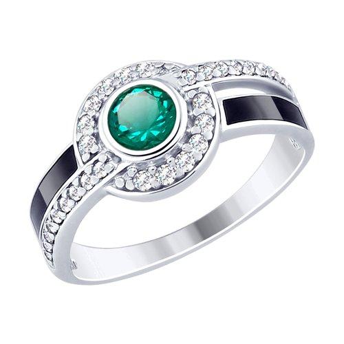 Кольцо из серебра с эмалью и зелёным ситаллом и фианитами (92011498) - фото