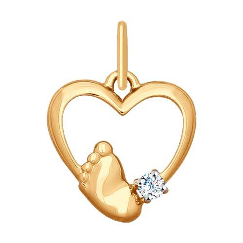 Подвеска из золота с фианитом «Пяточка»