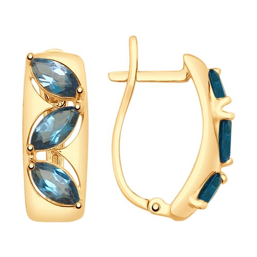 Серьги из золота с синими топазами