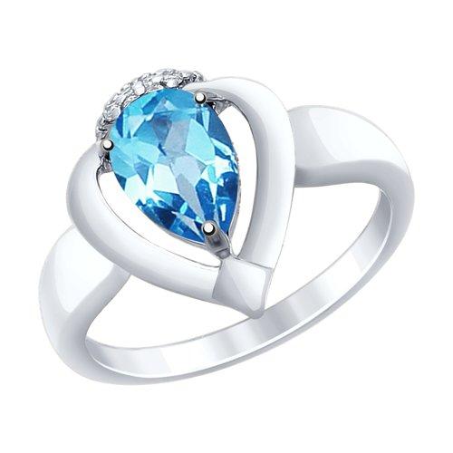 Кольцо из серебра с топазом и фианитами (92011465) - фото