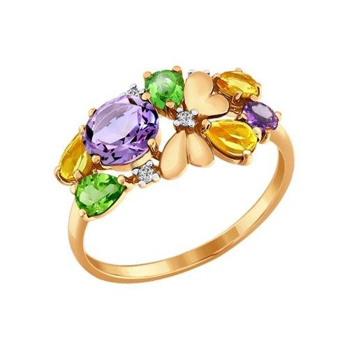 Золотое кольцо с полудрагоценными вставками