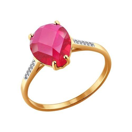Кольцо из золота с корундом и фианитами (714102) - фото