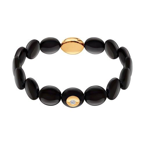 Браслет из чёрной керамики с золотом и бриллиантом (6055003) - фото