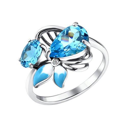 Кольцо с голубой эмалью и топазами