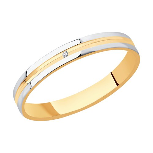 Фото - Обручальное кольцо SOKOLOV из комбинированного золота с алмазной гранью с фианитом кольцо sokolov из комбинированного золота с синим фианитом