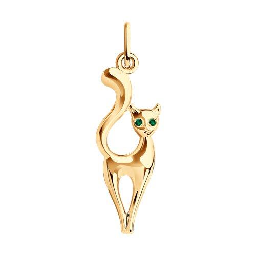 Подвеска «Кошка» из золота с зелеными фианитами
