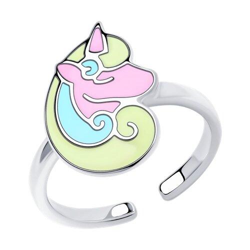 Кольцо из серебра с эмалью (94013186) - фото