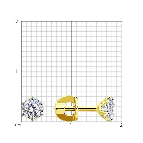 Серьги-пусеты из желтого золота с фианитами (026933-2) - фото №2