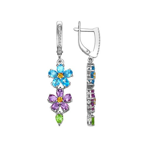 Длинные серьги с цветочной композицией из цветных камней