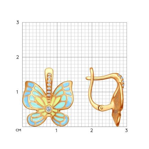Серьги с бабочками украшенными эмалью (93020591) - фото №2