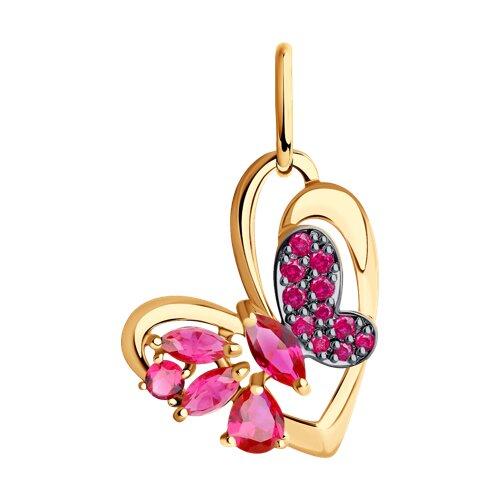 Подвеска «Бабочка» из золота с корундами рубиновыми и красными фианитами (731506) - фото