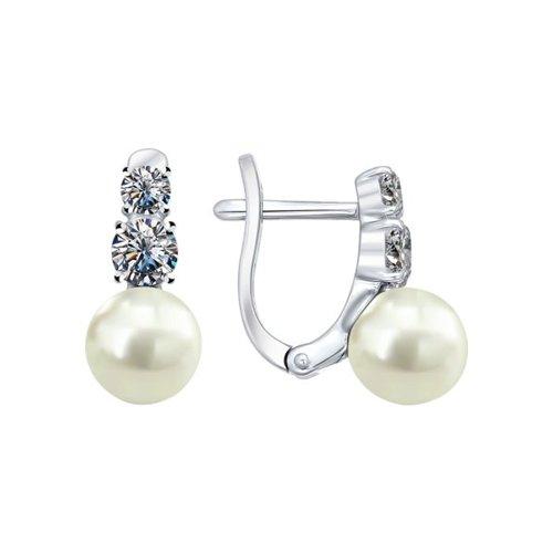 Серьги из серебра с жемчугом и фианитами (94021945) - фото