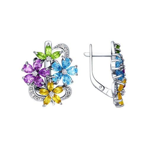 Серьги с цветками SOKOLOV из полудрагоценных камней