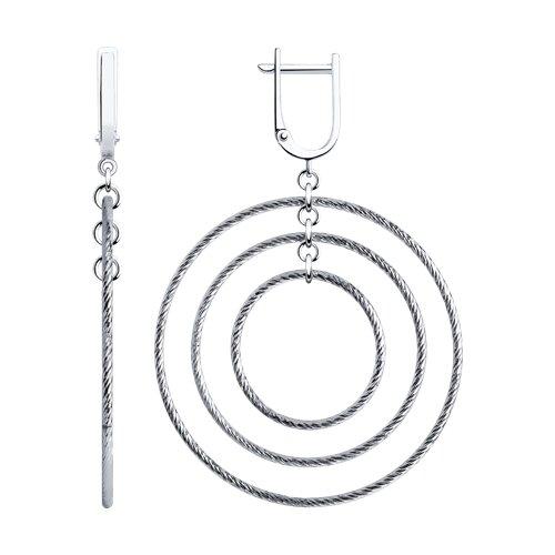 Серьги из серебра с алмазной гранью