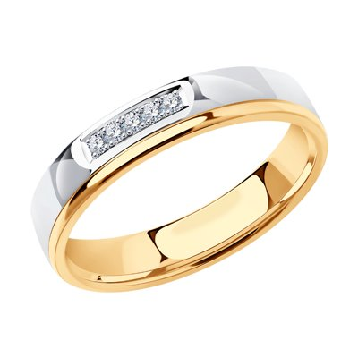 Купить Обручальное кольцо из комбинированного золота с бриллиантами