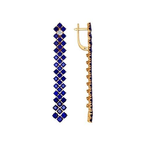 Серьги длинные из золота с бриллиантами и корундами
