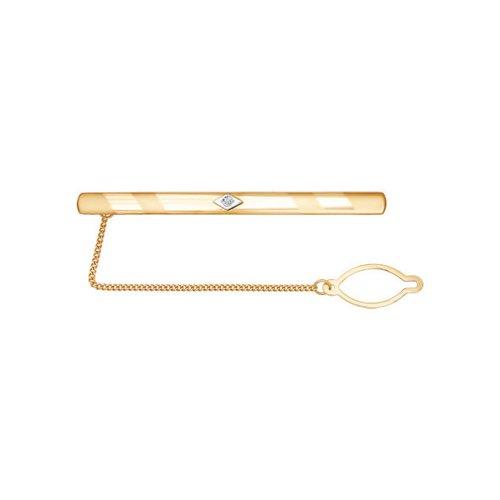Зажим для галстука из двух видов золота и алмазной гранью