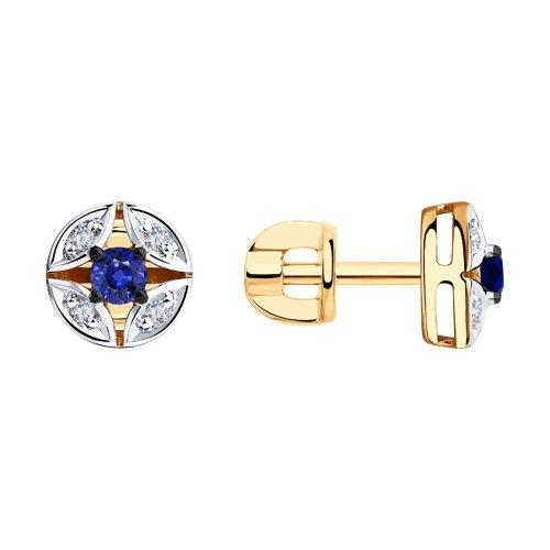 Серьги из золота с бриллиантами и сапфирами (2020952) - фото