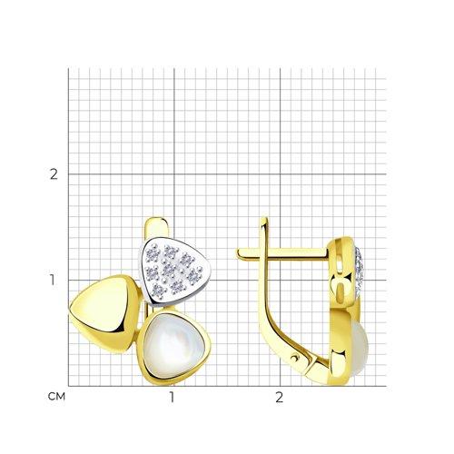Серьги из желтого золота с бриллиантами и перламутром 1021435-2 SOKOLOV фото 2