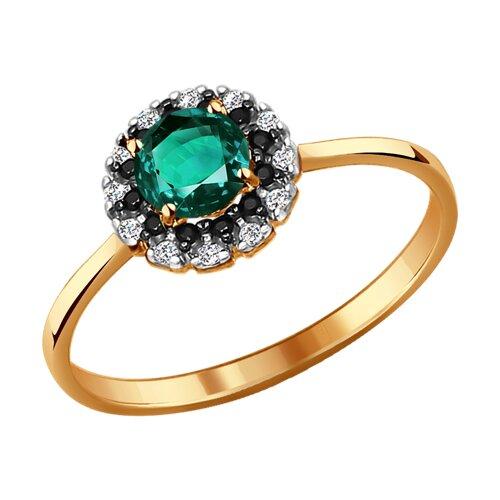Кольцо из золота с изумрудом гидротермальным и фианитами (715831) - фото