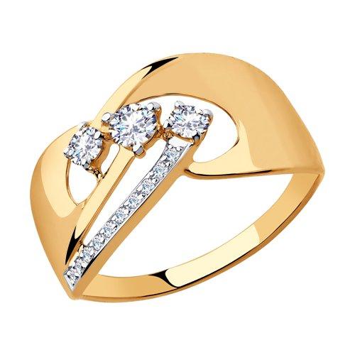 Кольцо из золота с фианитами (018290) - фото
