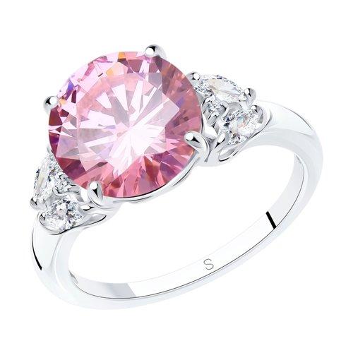 Кольцо SOKOLOV из серебра с розовым фианитом