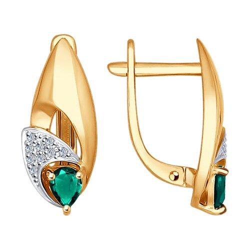 Серьги из золота с бриллиантами и изумрудами (3020434) - фото