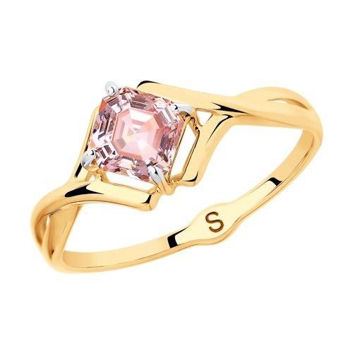 Кольцо из золота с розовым Swarovski Zirconia (81010420) - фото