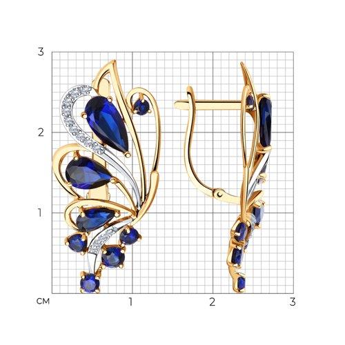 Серьги из золота с корундами и фианитами 727174 SOKOLOV фото 2