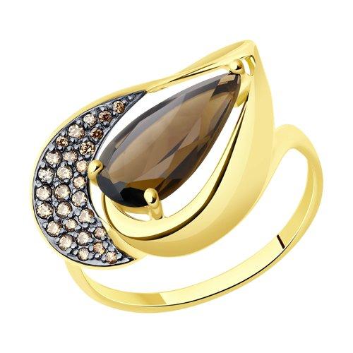 Кольцо из желтого золота с раухтопазом и фианитами 714808-2 SOKOLOV фото