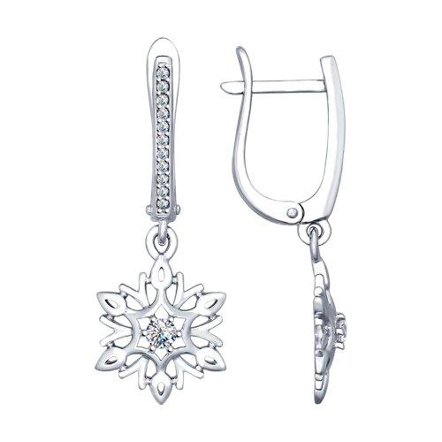 Серьги «Снежинки» из серебра