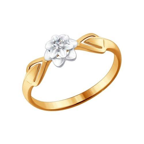 Кольцо из комбинированного золота с бриллиантом (1011404) - фото