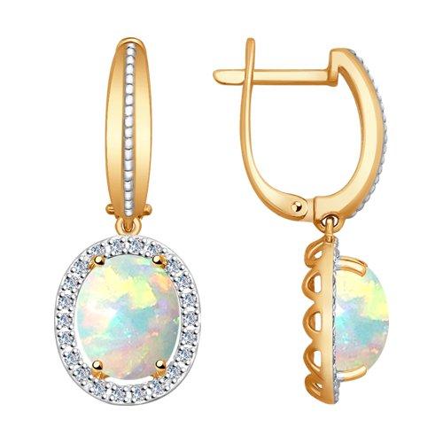 Серьги из золота с бриллиантами и опалами