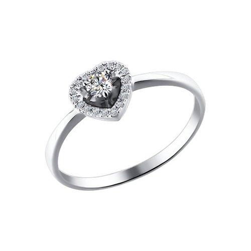 Помолвочное кольцо из белого золота с бриллиантами (1011073) - фото