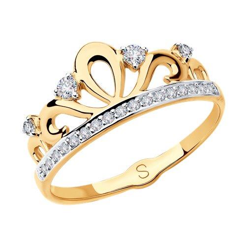Кольцо из золота с фианитами (018107) - фото
