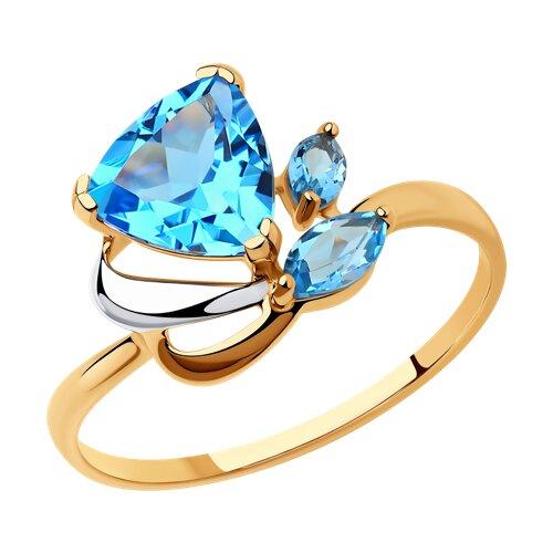 Кольцо из золота с голубыми топазами (714623) - фото