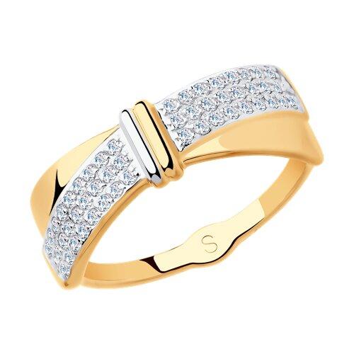 Кольцо из золота с фианитами (018150) - фото