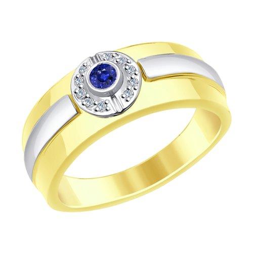 Кольцо из комбинированного золота с бриллиантами и сапфиром (2011073-2) - фото