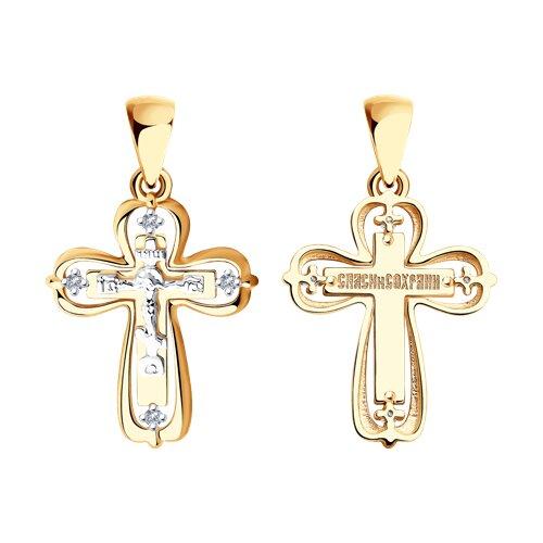Подвеска- крест из комбинированного золота с бриллиантами 1120101 SOKOLOV фото