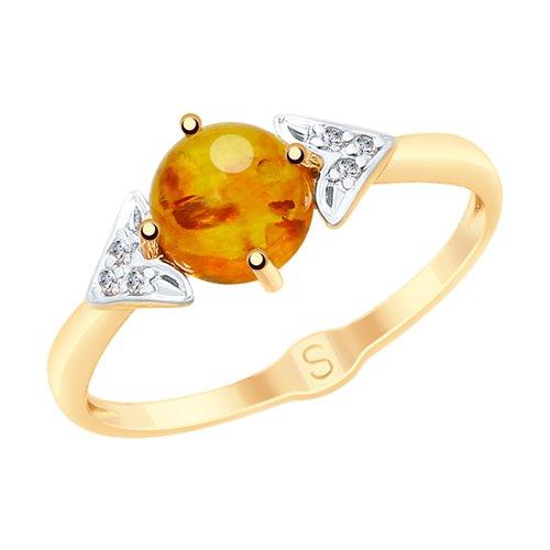 Кольцо из золота с янтарём и фианитами (715176) - фото
