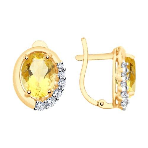 Серьги из золота с цитринами и фианитами 726180 SOKOLOV фото