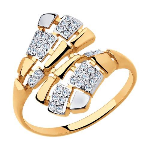 Кольцо из золота с фианитами (8-010018) - фото