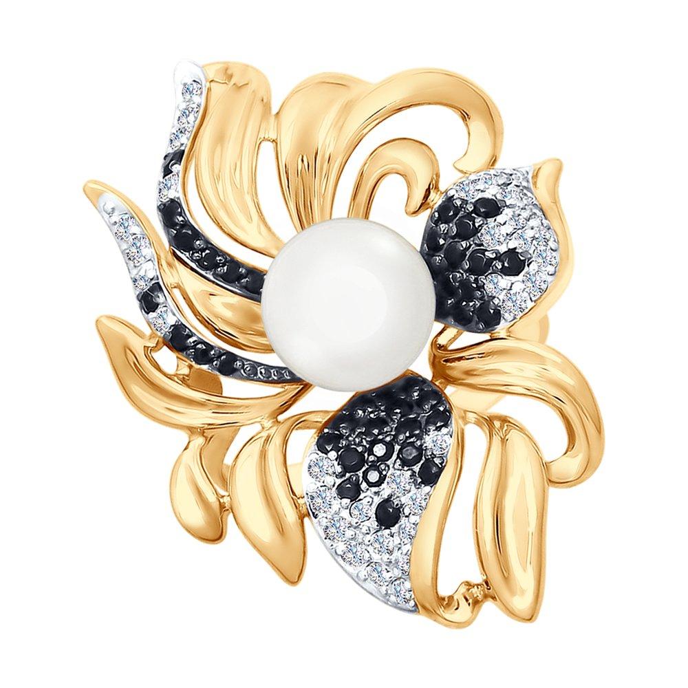 Кольцо SOKOLOV из золота с жемчугом и бесцветными и чёрными фианитами золотое кольцо с чёрными и бесцветными фианитами sokolov