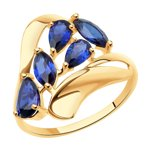 Кольцо из золота с корундами сапфировыми (синт.)